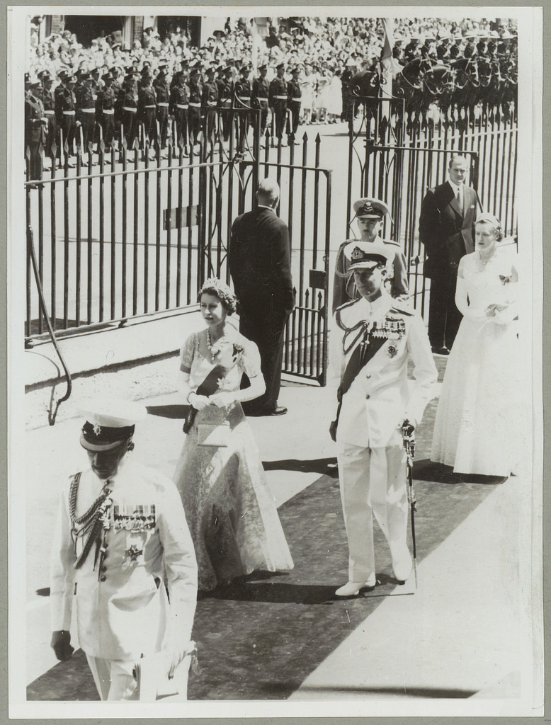 Queen Elizabeth II at the opening of NSW Parliament - Royal Visit, 1954