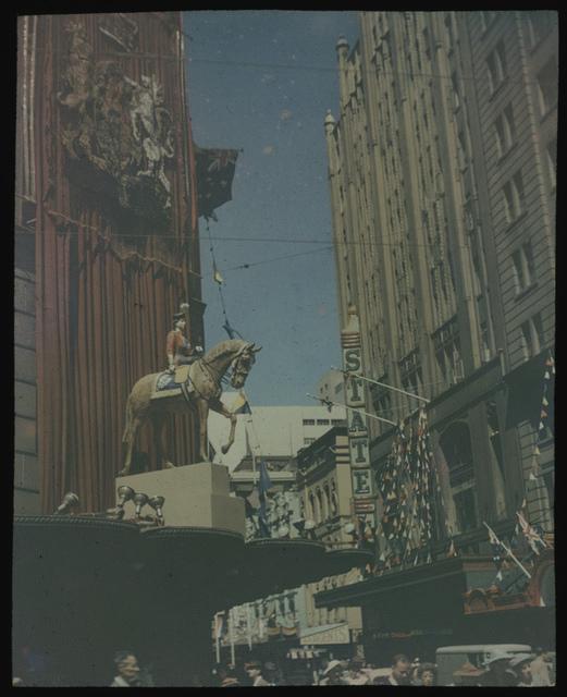 Royal tour decorations, statue of Queen Elizabeth II on horseback, Sydney, 1954 [transparency] /