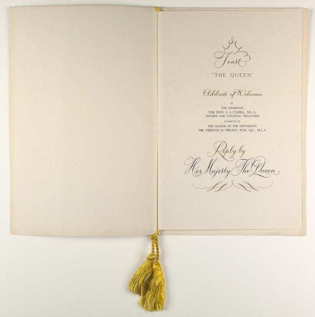Royal visit 1954 - State dinner menu (inside cover)
