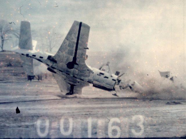 McDonnell FH-1 Phantom Destroyed for the NACA Crash Fire Program