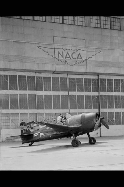 GRUMMAN F6F-3 #874 AIRPLANE on the NACA Ames flight line ARC-1955-A-20543