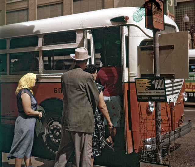 Bus stop in Houston 1956