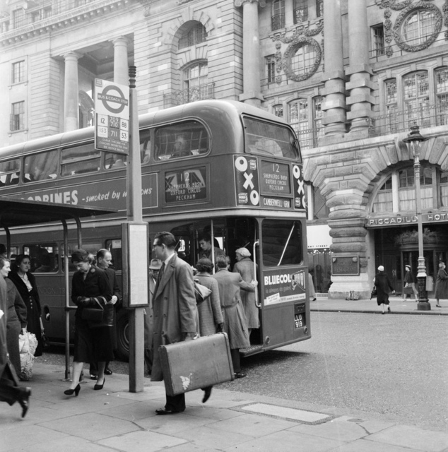Bus stop in London 1956