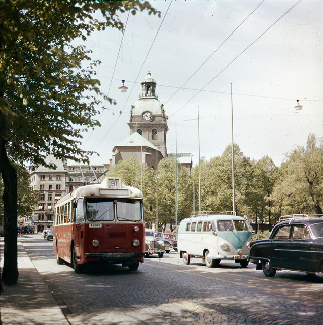 Trolleybus  in  Stockholm in 1956