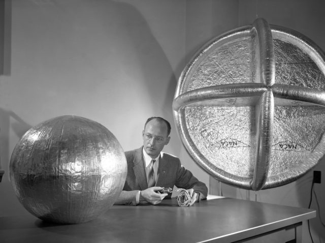 Engineer W.J. O'Sullivan, Jr. with 20 Inch Subsatellite