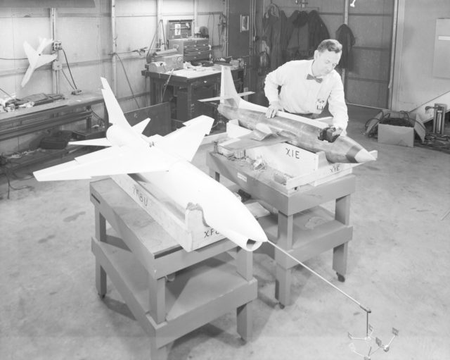 Bell X-1E and Vought XF-8U Dynamic Models in 1957
