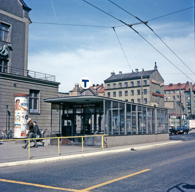 Entrance to the subway station Skanstull in Stockholm 1957