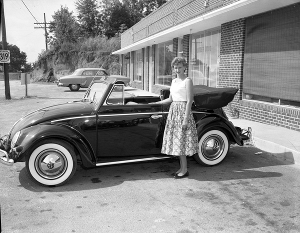 New VW Beetle convertible at the Volkswagen dealership in