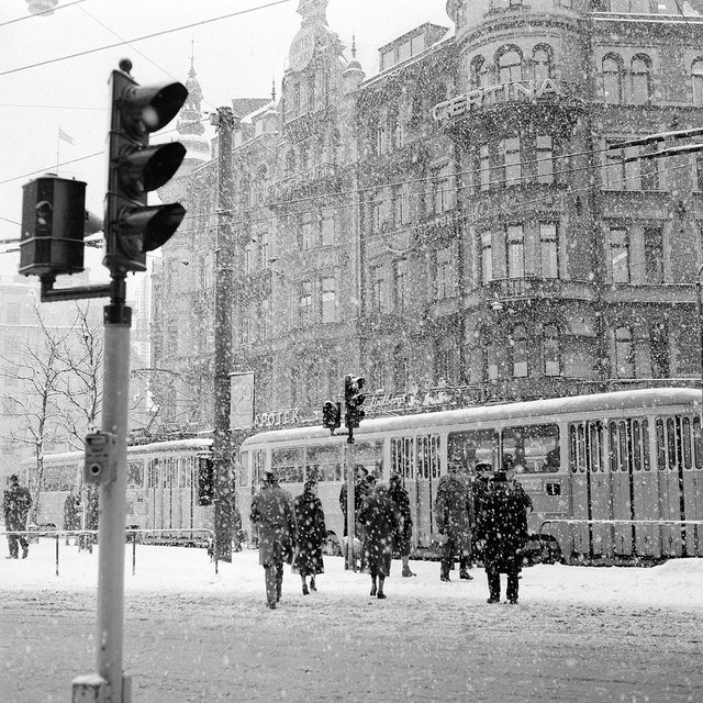 Stureplan, Stockholm  in the winter of 1957