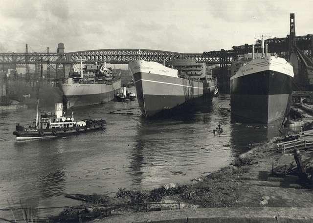 Three Sunderland-built ships on the River Wear