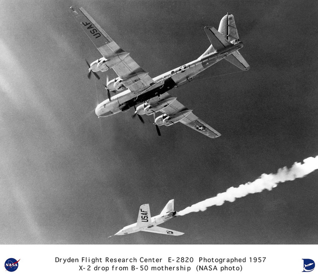 X-2 in flight after drop from B-50 mothership