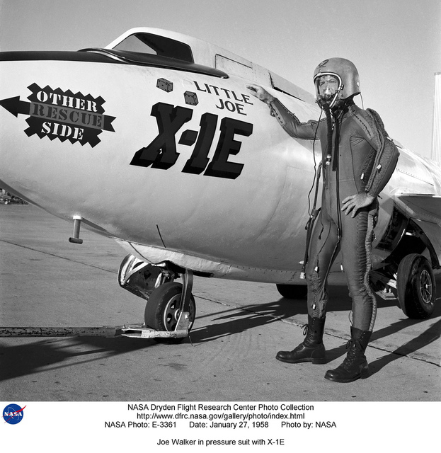 Joe Walker in pressure suit with X-1E