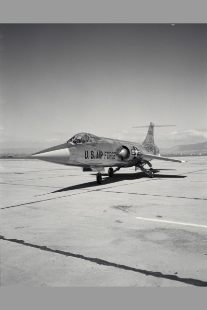 Lockheed JF-104A (AF56-745A Tail No. 60745) Starfighter airplane piloted by Fred Drinkwater  conducted flight testing that demonstrated steep approaches that were ultimately used by the space shuttle.  Steep descent testing, including power-off landing approaches and demonstration of minimum lift-to-drag ratio (L/D) landings came out of the interest in the use of low L/D lifting bodies for recovery to landing from space. Note:  Used in publication in Flight Research at Ames;  57 Years of Development and Validation of Aeronautical Technology NASA SP-1998-3300 fig 93 ARC-1959-A-24953