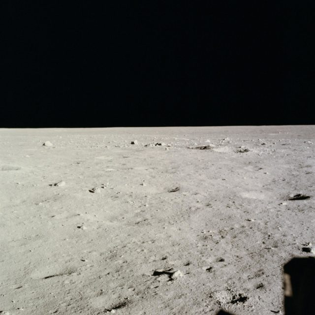View form Lunar Module of surface of the moon near where LM touched down