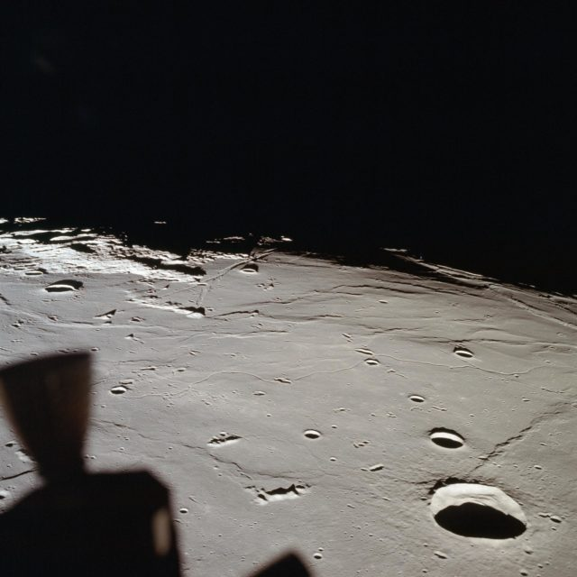 View of approach to Apollo Landing Site 2 in southwestern Sea of Tranquility