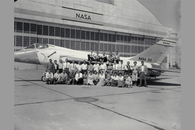 FLIGHT RESEARCH BRANCH PERSONNEL-1959.  FRONT ROW: George Rathert, Stu Brown, Norm McFadden, Howard Turner, Gus Brunner, Venia McCloud, Violet Shaw, Kay Rizzi, Yvonne Settle, Genevieve Ziegler, Anita Palmer, Grace Carpenter, Evelyn Olson. SECOND ROW: Bill Triplett, Alan Faye, Dick Bray, Seth Anderson, Steve Belsley, Hervey Quigley, Hank Cole, Elwood Stewart, Don Higdon, Maurie White, Dorothea Wilkinson, Dick Vomaske, Stew Rolls, Mel Sadoff, Mary Thompson, Brent Creer.  BACK ROW: Ron Gerdes, Joe Douvillier, John Stewart, Rod Wingrove, Walter McNeill. Note:  Used in publication in Flight Research at Ames;  57 Years of Development and Validation of Aeronautical Technology NASA SP-1998-3300 fig 89 ARC-1969-A-25541