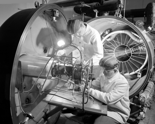 Ion Engine Being Installed in High Vacuum Tank