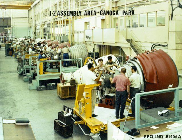 J-2 engine at Rocketdyne's Canoga Park, California - Saturn Apollo Program