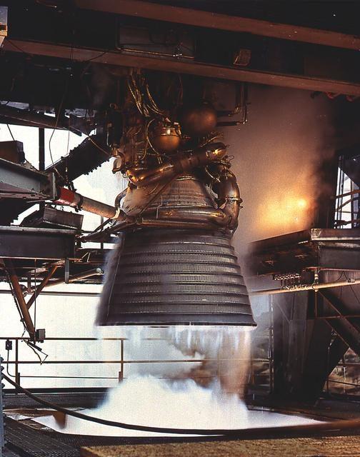 Saturn Apollo Program J-2 engine undergoes static firing