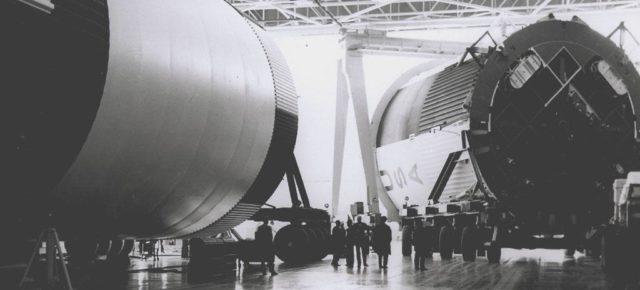 Saturn V assembled LOX (Liquid Oxygen) and fuel tanks  - Saturn Apollo Program