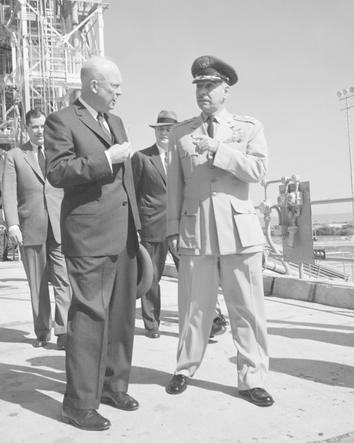 CAPE CANAVERAL, Fla. -- President Dwight D Eisenhower is briefed on operations at Cape Canaveral Air Force Station in Florida. Photo Credit: NASA KSC-PL60-51253