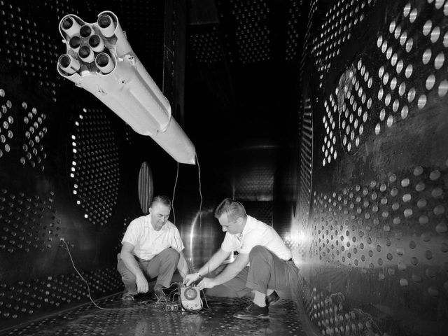 Saturn Rocket Scale Model in the 8- by 6-Foot Supersonic Wind Tunnel