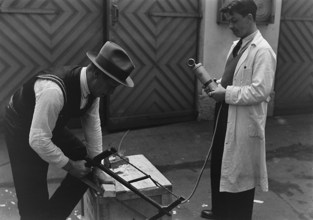 A man is recording sound effects, 1930s