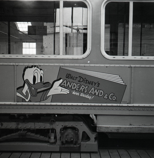 Advertising for Donald Duck (Anders And) on  the tram in Copenhagen 1960