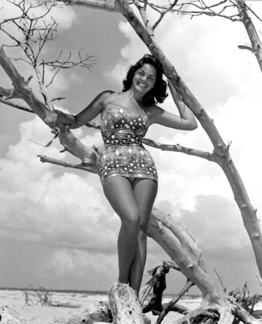 Carol Clough modeling on Clearwater Beach, Florida
