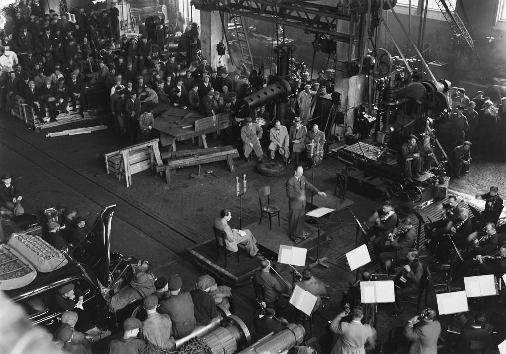 Factory concert by the Finnish Radio Symphony Orchestra, Hietaniemi, Helsinki, ca. 1945.