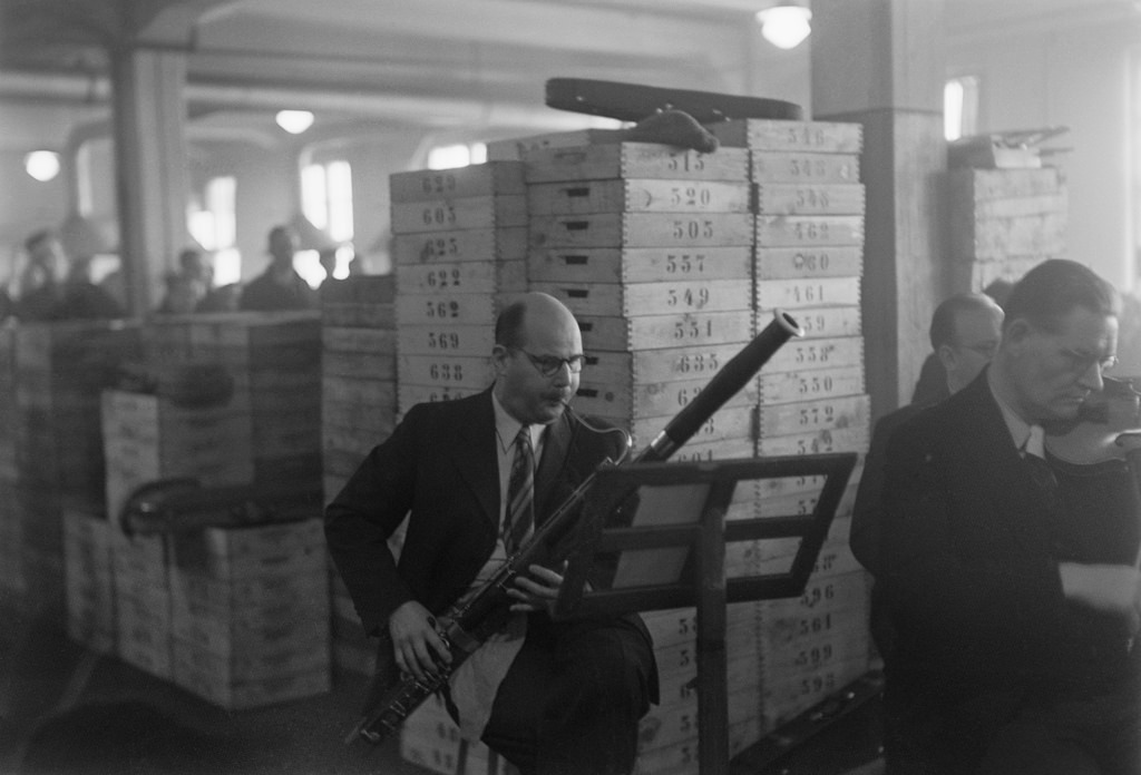 Finnish Radio Symphony Orchestra bassoonist at a factory concert, 1930s.