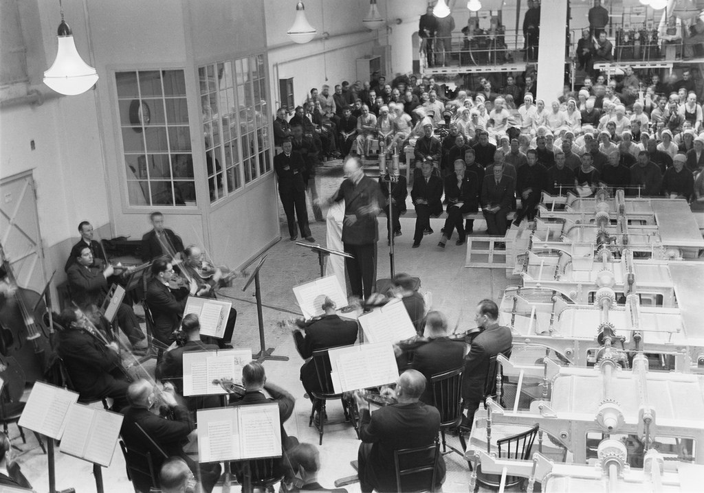Finnish Radio Symphony Orchestra playing at a sugar factory, Töölö, Helsinki, 1944.