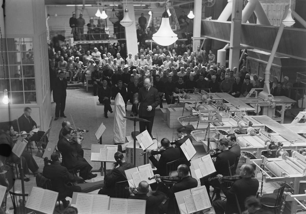 Finnish Radio Symphony Orchestra playing in a sugar factory, Helsinki, 1944.