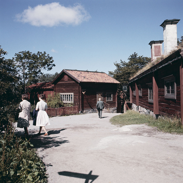 Houses at the outdoor museum Skansen in Stockholm in 1960