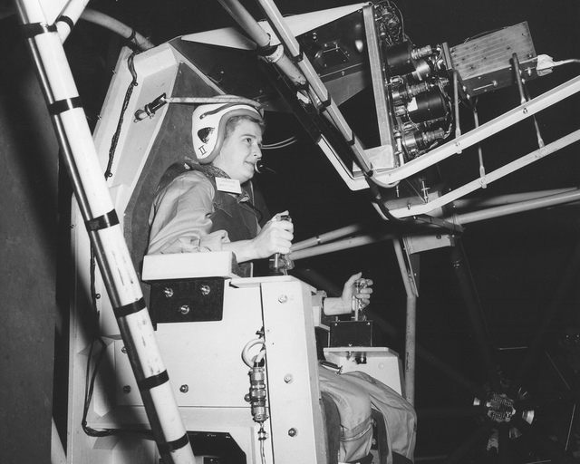 Jerrie Cobb, Lady Pilot, testing Gimbal Rig in AWT