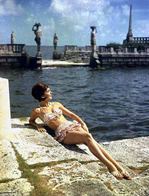 Modeling a bathing suit at Villa Vizcaya - Miami