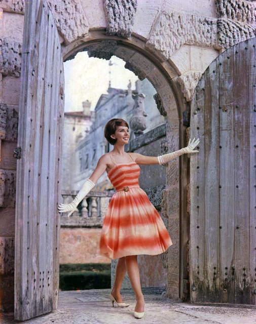 Modeling a dress at Villa Vizcaya - Miami