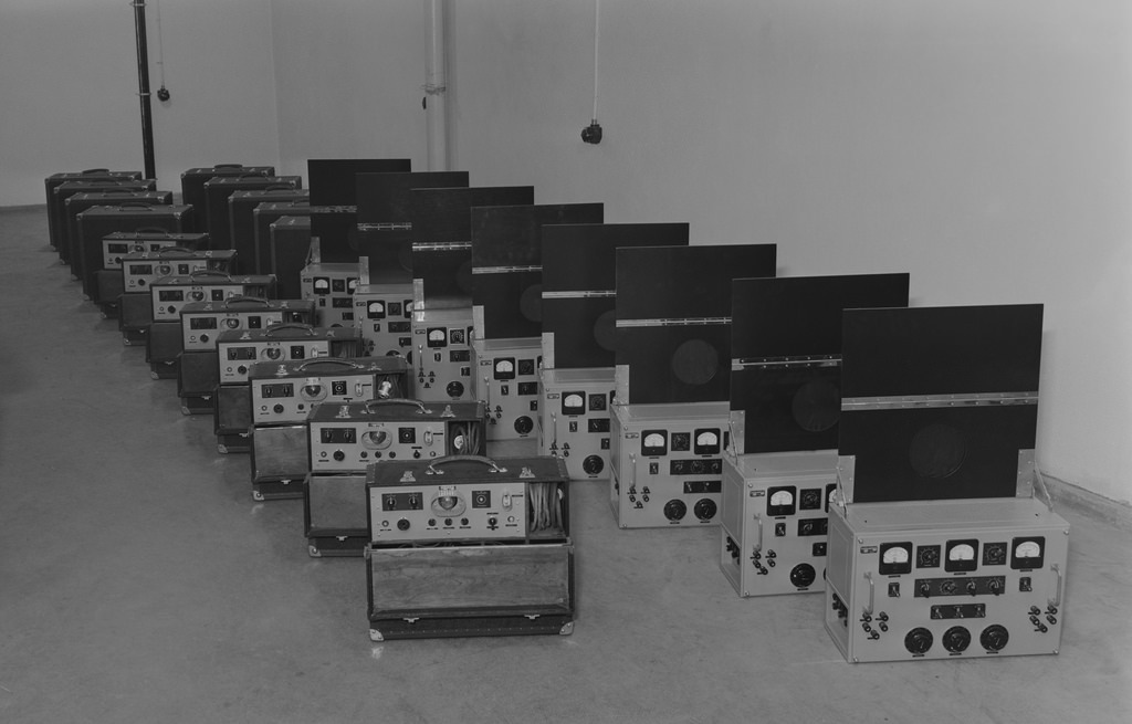 Olympia 40/3 microphone amplifiers and their power supplys made in Yle's workshop.  Equipment was built in 1939 for the Olympic games 1940. The 1940 Summer Olympics were cancelled due to the outbreak of Word War II.