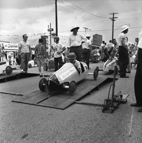 Racer on the starting ramp at the 11th Annual Soap Box Derby race in Tallahassee, Florida