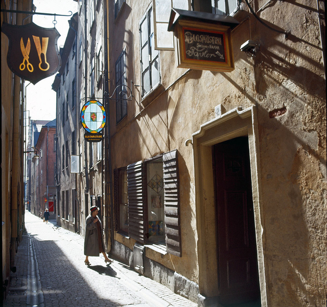 Street in the Old Town of Stockholm 1960