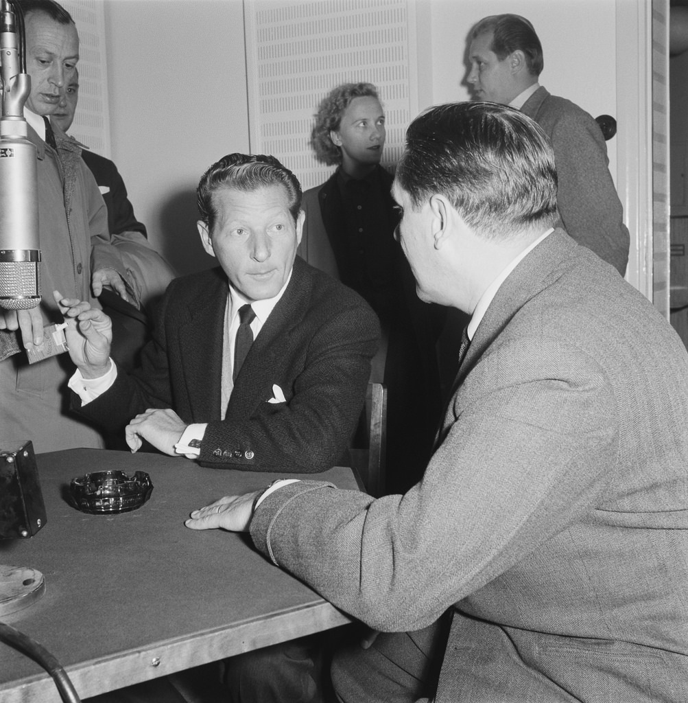 The American actor Danny Kaye interviewed for the Finnish Broadcasting Company, 1955.