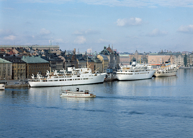 View over Stockholm harbour in 1960