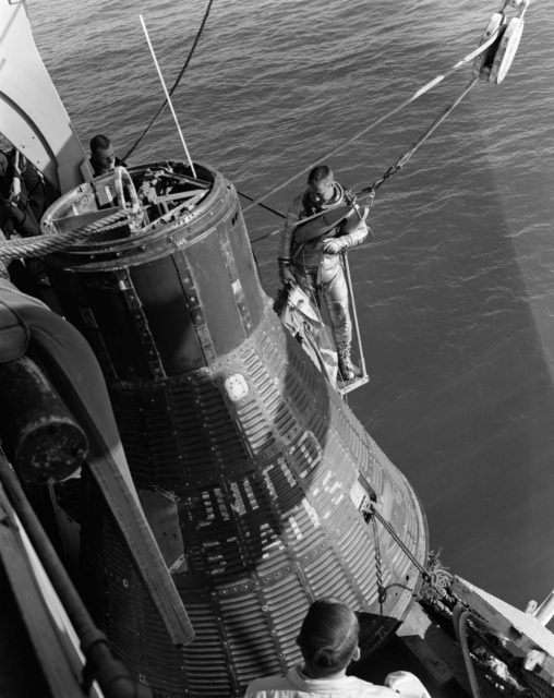 ASTRONAUT GRISSOM, VIRGIL I. - MERCURY SPACECRAFT - EGRESS TRAINING
