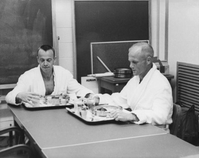 Astronauts Shepard and Glenn - Breakfast - Pre-Mercury-Redstone (MR)-3 Flight - Cape