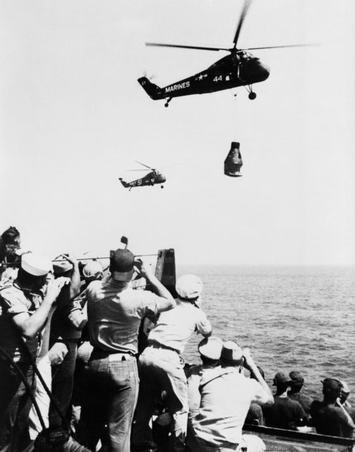 Crew Members - USS Champlain - Arrival - Astronaut Alan Shepard
