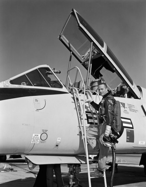 Astronaut M. Scott Carpenter in the cockpit of a T-106