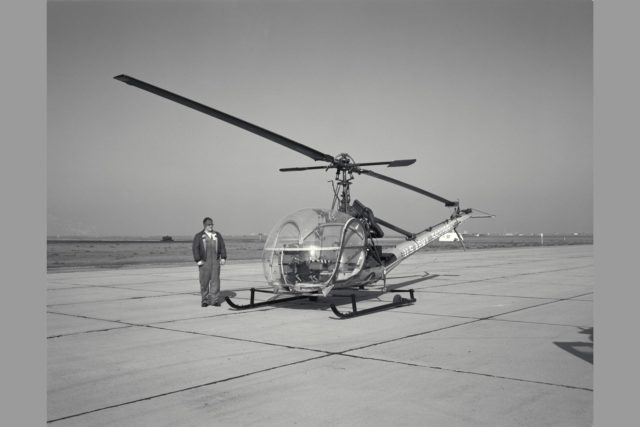 3/4 FRONT VIEW OF HILLER H-23C (USA 56-2288).  USE OF THE HILLER H-23 HELICOPTER AS AN AID IN ESTABLISHING SATISFACTORY FLYING QUALITIES & REQUIREMENTS FOR VTOL AIRCRAFT.  Rotocraft Research.  NASA SP Flight Research at Ames: 57 Years of Development and Validation of Aeronautical Technology ARC-1969-A-27425