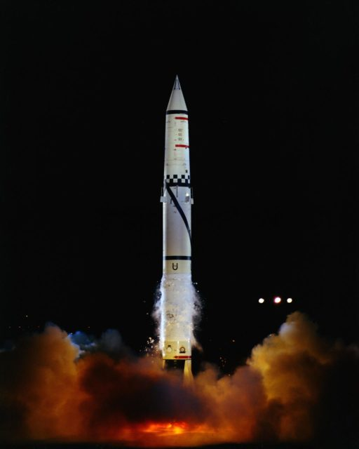 Pad 6.  Launch of US Army Redstone (2040) for accuracy and vehicle re-entry observation, at 9: 30 P.M. EST.  (Lift-off) Photo by: Bundy. LOD-KSC-61C-413