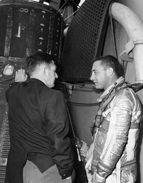 Astronaut Virgil Grissom in new Mercury Space Suit during egress training
