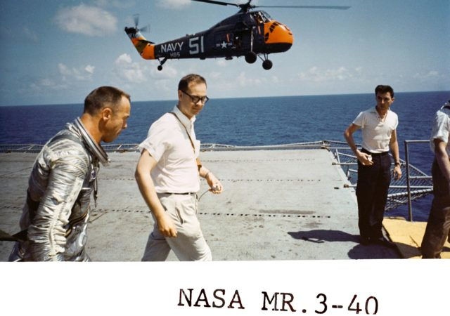 Astronaut Alan Shepard on U.S. Champlain after recovery of Mercury capsule